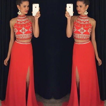 Red Mermaid Two Pieces Prom Dresses 2017 New High Neck Beading Crystal Sweep Train Evening Dresses