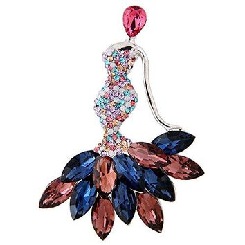 LOCOMO Fancy Cyrstal Rhinestone Mermaid Brooch Pin Elegant JBH006