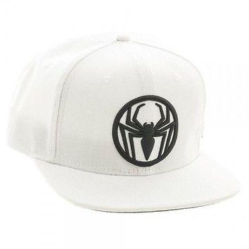 Ultimate Spiderman Logo'd Black on White Snapback Baseball Cap