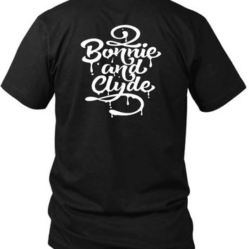 Typography 2 Bonnie And Clyde 2 Sided Black Mens T Shirt