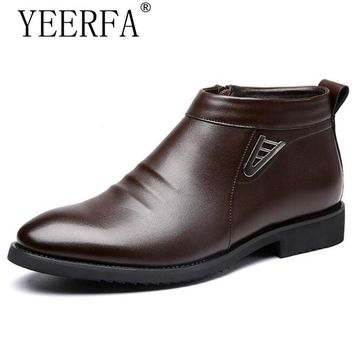 YIERFA Man's Solid Pleated Sequined Ankle Boots Men Handmade PU Leather Shoes Men 2017 New Winter Dress Formal Flats 38-44 EUR
