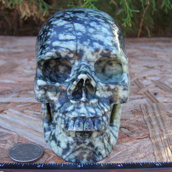 "Huge 5.09"" 1390g 3.07 Pounds Picasso Jasper Skull Handmade Magick Crystal Healing Wicca Reiki Big Massive Shrine Altar SK1390"