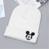 Mickey Mouse Beanie Unisex Warm Winter High Quality Lovely Womens & Mens Knitted Ski Cap White Cuffed Skully Hat