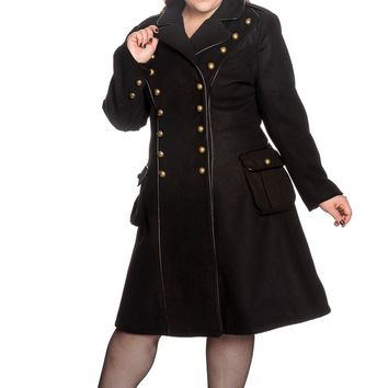 "Hell Bunny Gothic Black Steampunk Military Corset "" Imma"" Coat"