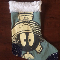 MARVIN THE MARTIAN - Upcycled Rock Band T-shirt Christmas Stocking - OOAk
