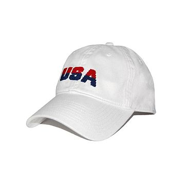 USA Needlepoint Hat in White by Smathers & Branson