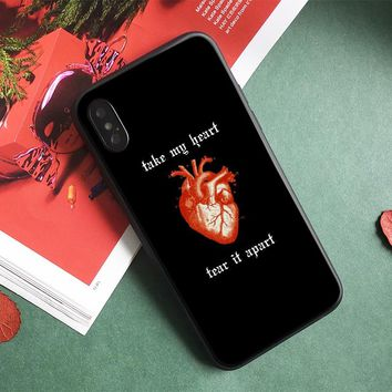 Black Gothic heart Fashion coque Soft Silicone Phone Case Cover Shell For Apple iPhone 5 5s Se 6 6s 7 8 Plus X XR XS MAX