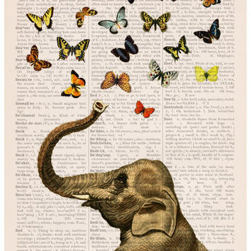 Elephant art, A3 Poster, Elephant with butterflies print , Nursery wall art, Wall decor LOVE poster-Gift her, Giclee elephant poster BPA3022