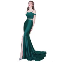 New Evening Dress Sexy Slim Fishtail Green Sweep Train Two Pieces Simple Satin Mermaid High Split Prom Party Gowns