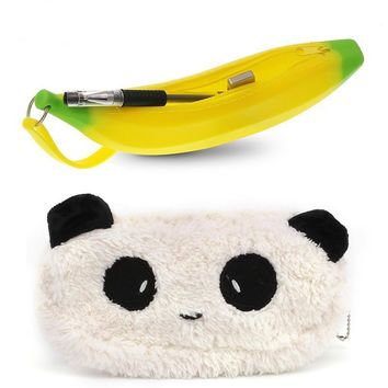 LemonBest Banana Panda Pencil Case Soft Plush Pencil Case Portable Cosmetic Makeup Bag Coin Purse Wallet Pouch Storage Bag