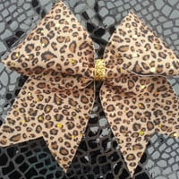 Brown Black and Gold Cheetah Print 3 Cheer Bow by Bowtique24