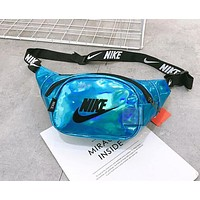 NIKE Fashion Women Men Purse Waist Bag Single-Shoulder Bag Crossbody Satchel Lake Blue
