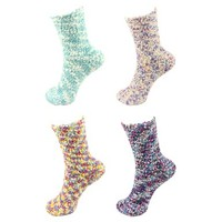 4 Pairs Assorted Super Soft Warm Microfiber Fuzzy Knobby Socks - Value Pack