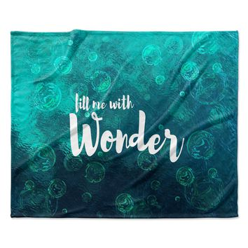 "Suzanne Carter ""Wonder 2"" Teal White Fleece Throw Blanket"