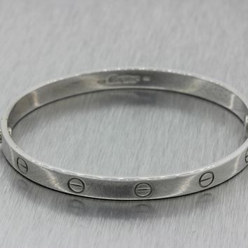 1993 Cartier Designer Modern 18k Solid White Gold 6mm Love Bracelet sz 19