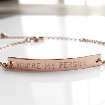 Hand stamped bracelet,you are my person bracelet,bff bracelet, sisters bracelet, friendship jewelry,hand stamped jewelry
