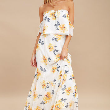 Waltz of the Flowers White Floral Print Two-Piece Maxi Dress