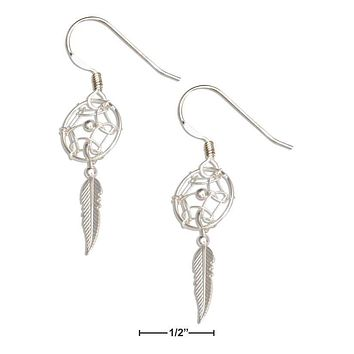 Sterling Silver Earrings:  Small Dreamcatcher Earrings With Feather