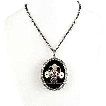 Large Locket Gothic Industrial Gas Mask Inlaid in Hand Painted Glossy Black Onyx Enamel Burnished Silver Pill Box Locket Necklace