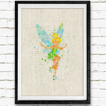 Tinker Bell Disney Fairy Watercolor Print, Peter Pan, Baby Girl Nursery Room Art Minimalist Home Decor Not Framed, Buy 2 Get 1 Free