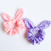 Happy pretty bunny bow hair scrunchie Chou Chou Ponytail holder tie pastel pink purple dot :) Love Factory handmade in New York