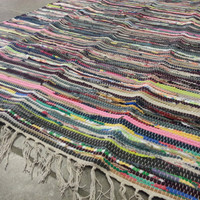 Perfect Rag Rug / Large Scrap Multi Color Area Rug / Hand Woven Floor Mat / Boho Rug / Vegan  FREE SHIPPING