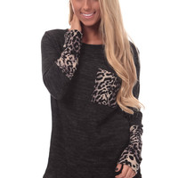 Charcoal Top with Leopard Print Detail
