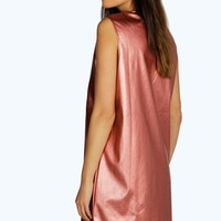 Pamela PU Plunge Neck Shift Dress