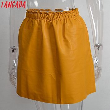 Tangada New Fashion Women Yellow Faux Leather A-line Mini Skirt Elastic Waist Casual Brand Cozy Saias Feminina Faldas Jupe 3D27
