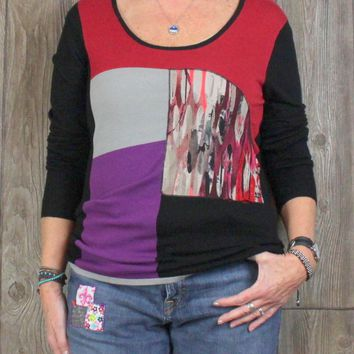 New Felino 3 L Size Scoop Neck Sweater Gray Purple Red Womens Stretch Top