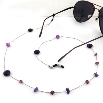 Women High quality Vintage Amethyst Eyeglass Eyewears Sunglasses Reading Glasses Chain Cord Holder neck strap Rope