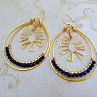 Love Me Some Red Hot Chili Peppers - Hand-Forged 24k Gold Plated and Lapis Hoop Earrings