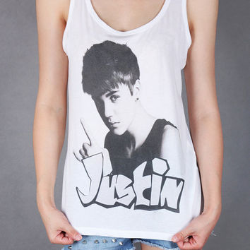 Justin bieber printed women tank top Size small to by SAheartfire