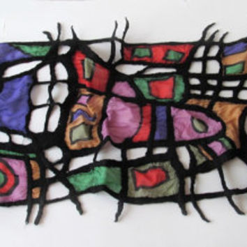 Nuno felted scarf  - Picasso art scarf  stained-glass window