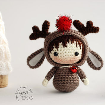 Christmas Deer Doll.  - pdf crochet pattern. Tanoshi series toy.