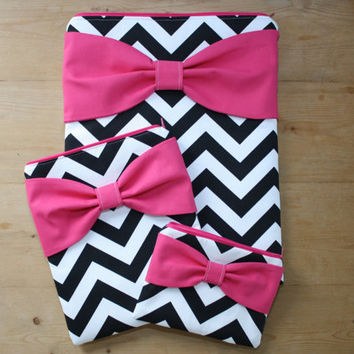 Coordinating Set of Cases - MacBook / Laptop, iPad / Tablet or iPad Mini, and Free Cosmetic Case - Black Chevron Hot Pink Bow - Padded