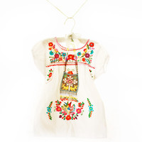 Baby Mexican dress puff sleeves mini tunic Peace White size