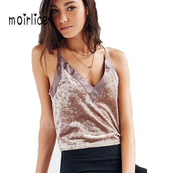 Moirlicer Cotton Velvet Crop Tops Women Patchwork Summer Sexy Halter Top Sleeveless Brown Black 2017 Fashion High Quality