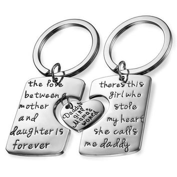 3 Piece Mom Dad Daughter Family Love Keychain Necklace Set