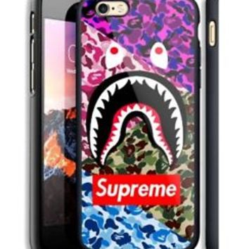 Top Supreme Bape Logo Camo Fit Hard Case For iPhone 6 6s Plus 7 8 Plus X Cover +