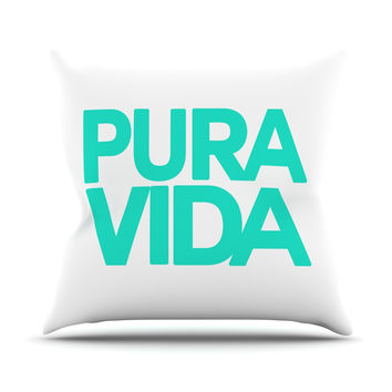 "Geordanna Cordero-Fields ""Turquoise Pura Vida"" Blue White Outdoor Throw Pillow"
