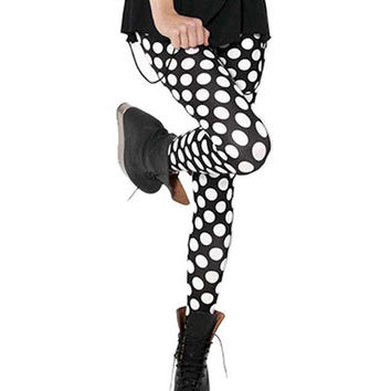 Black with White Polka Dots Leggings