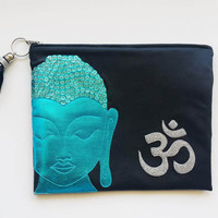Peaceful BUDDHA  Ohm Small Leather Clutch. Small Leather Bag. Leather Makeup Bag. Leather Cosmetic Bag. Glitter Bag, FREE SHIPPING
