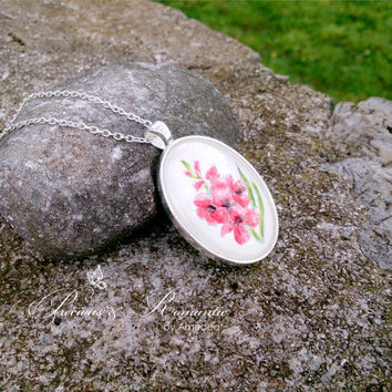 Watercolor flower pendant - glass jewelry - hand painted pendant - flower jewelry - red flowers - watercolour jewelry