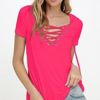 Womens Stylish Lace Up Casual Top