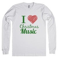 I love Christmas music long sleeve shirt-Unisex White T-Shirt