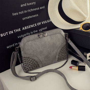 Summer Korean Stylish Matte Rivet One Shoulder Bags [8226386759]