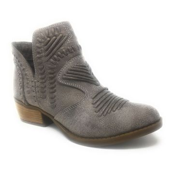 Not Rated Nosara Grey Stitched Ankle Booties