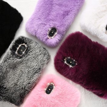 DOEES Luxury Phone Cases For iPhone X 8 7 Plus 6 6S Plus 5 5S SE Case Cute Christmas Warm Fur Glitter Cover For iPhone 8 7 Coque