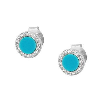 Turquoise Silver Round Stud Earring
